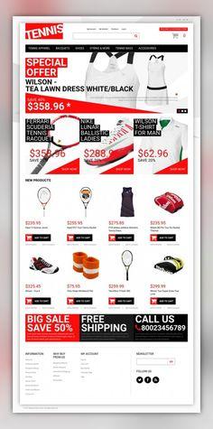 Tennis Dress Supplies Magento Theme E-commerce Templates, Magento Themes, Sports, Outdoors & Travel, Sport Templates, More Sports, Tennis Templates