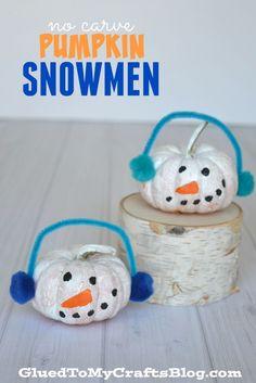No Carve Pumpkin Snowmen - Kid Craft