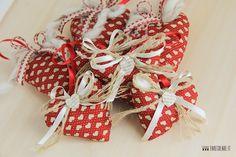 Set 7 cuori di Natale in stoffa per albero di Natale - colore rosso scuro : Accessori casa di cristiana-farecreare