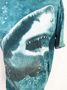 Vintage Tie Dye Blue Jaws Shark Animal Print T-Shirt Large L