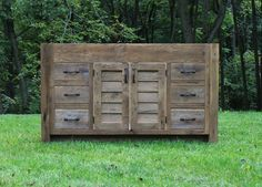 "Rustic Vanity (60"") - Reclaimed Barn Wood w/Louvered Doors"