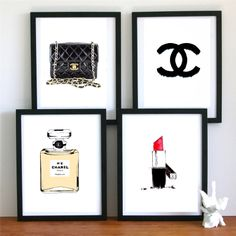 canvaspaintings:  4 chanel dream prefume - original Illustration art print - A4 Size - black and white Poster - black Background by theprintsworld (25.00 USD) http://ift.tt/13ab13S