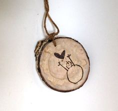 Tree Slice Snowman Ornaments 2 Primitive Snowmen Wood by VaniTeaz