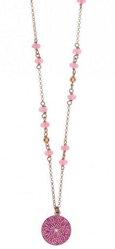Κολιέ με αλυσίδα ασημένιο 925, επιχρυσωμένο με ροζ χρυσό, στρογγυλό μοτίφ με ροζ ζιργκόν και συνθετικές πέτρες. Από τη συλλογή Aura #aura #gregio #necklase #mybrandsstore