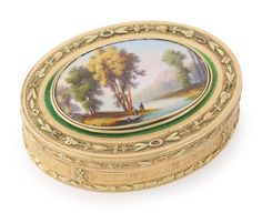 A Louis XVI gold and enamel snuff box, Paris, 1785 -- the cover with an associated enamel miniature of figures in a landscape, probably Swiss marked inside cover, base and side, maker's mark unclear   Sotheby's n09491lot8vzyhen