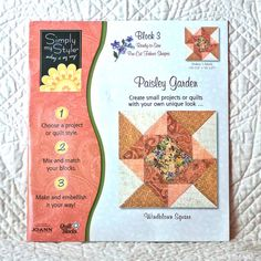 PAISLEY Garden QUILT BLOCK53 3 Simply My Style Windblown Square 4-oz