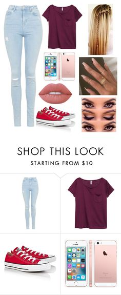 """Untitled #96"" by xxxdopenyxxx ❤ liked on Polyvore featuring Topshop, H&M, Converse and Lime Crime"