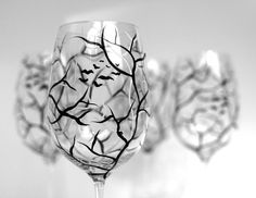 Spooky Black and White Halloween Trees--Hand Painted Wine Glasses by MaryElizabethArts