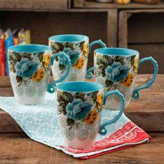The Pioneer Woman Rose Shadow Jumbo Latte Mug Set, Set of 4 - Interior Design Fans The Pioneer Woman, Pioneer Woman Dishes, Pioneer Woman Kitchen, Pioneer Women, Latte Cups, Coffee Cups, Tea Cups, Fete Halloween, Ree Drummond