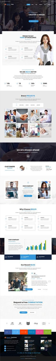 Bravo is clean and modern design responsive multipurpose #bootstrap template for #corporate business website with 8 niche homepage layouts to download click on image.