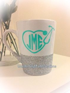 Monogram Stethoscope Coffee Mug//Nurse by WMCreationsShop on Etsy