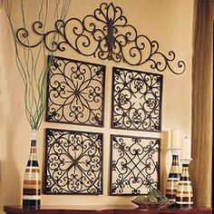 Orleans Wall Panels, wrought iron panels. Handcrafted and finished with an aged patina
