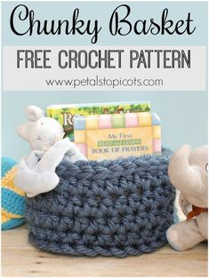 This Chunky Crochet Basket is perfect for storing books and toys or any other items you want to corral ... and it's a free pattern too!