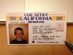 Cub Scout pinewood derby. Derby drivers license from our DMV clinic. A time for boys & dads to work on cars. Stock of extra supplies, some derby trivia & review rules & sportsmanship.