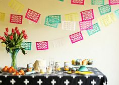 Geometric Cinco de Mayo Fiesta Garland DIY or for Mexican Independence day coming up Sept 15