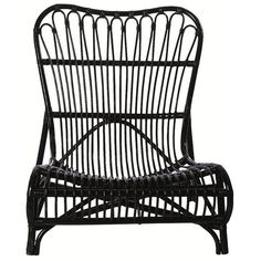 Lounge Black Rattan Low Chair ($290) ❤ liked on Polyvore featuring home, furniture, chairs, woven furniture, black furniture, low chair, black chair and rattan chairs