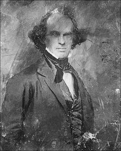 Portrait photo of Nathaniel Hawthorne novelist and short story writer. Considerable restoration was performed to this image, though the limits are obvious with these old daguerreotype images. - side note, OMG, that hair! Nathaniel Hawthorne, Writers And Poets, People Of Interest, Daguerreotype, American History, American Literature, Portrait Photo, Vintage Photographs, Famous People