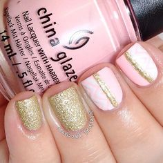 Light Pink and Gold Nail Design for Short Nails