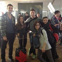 Eric Radford, Gabrielle Daleman, Dylan, Meagan Duhamel, and Luba arrive in Shanghai for Worlds March 2015