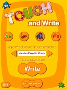 Touch and Write - great app for kids practicing writing. So fun! Capitals, lowercase letters, and numbers.