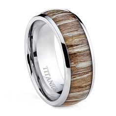Oliveti Men's Dome Real Light Zebra Rosewood Inlay Comfort Fit Titanium Ring - Overstock™ Shopping - Big Discounts on Men's Rings