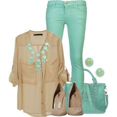 Love the teal colored pants! And the shirt and every part about the outfit! And I just love the whole entire outfit total! Dress Outfits, Casual Outfits, Cute Outfits, Fashion Outfits, Womens Fashion, Fashion Trends, Spring Outfits, Spring Summer Fashion, Autumn Fashion