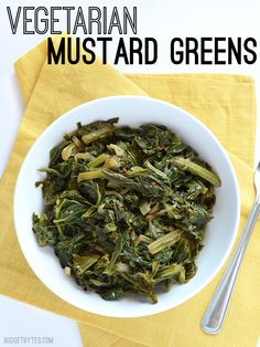 Delicious and smoky mustard greens can be made meat free! Simmering in smoked paprika and vegetable broth gives these greens a deep, rich flavor. Cooking Mustard Greens, Mustard Greens Recipe Southern, Carrot Greens, New Recipes, Whole Food Recipes, Cooking Recipes, Vegetables, Vegetarian Meals, Vegetarian Food