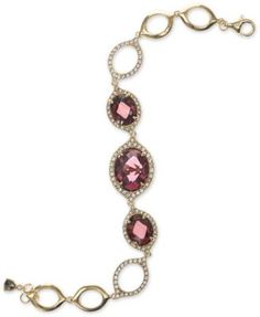 Judith Jack Gold-Tone Stone and Crystal Open Link Bracelet