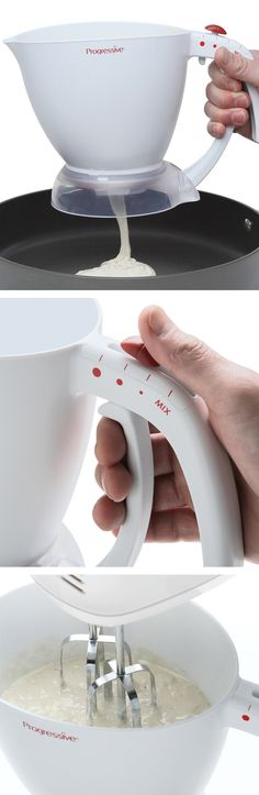 Pancake batter dispenser // beat in the jug,  choose your pancake size, and release the batter! Genius! #product_design