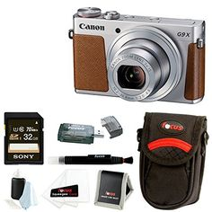 Canon PowerShot G9 X 20.2 MP Digital Camera (Silver) with 32B SDHC Card + Camera Case and Focus Accessory Bundle
