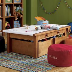 Like this wood color for a kids table and storage!