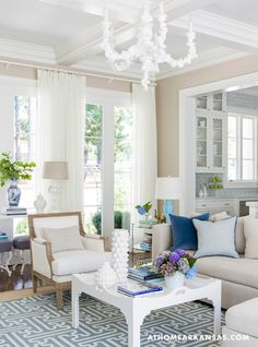 House of Turquoise: Melissa Haynes  Coffered low ceiling is great and adds height to the room.