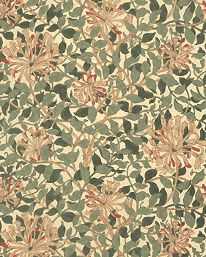 Tapetorama - Tapet 81138: Honeysuckle Green/Coral/Pink från William Morris & Co