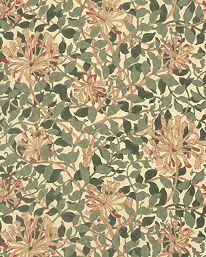 Tapetorama - Tapet 81138: Honeysuckle Green/Coral/Pink från William Morris & Co