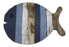 Houten vis onderzetter blauw