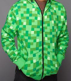 J!NX : Minecraft Creeper Premium Zip-up Hoodie - Clothing Inspired by Video Games & Geek Culture