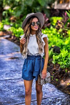 Casual Outfit In Hawaii - Moon River Striped Shorts // Moon River Crop Top // Janessa Leone Hat // Illesteva Sunglasses // Chloe Wedges // Gucci Dionysus Mini Bag // Kendra Scott Bracelet Stack May 11th, 2017 by maria