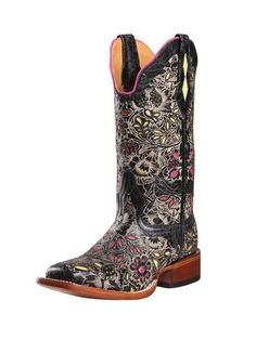b4ffabd4243 Johnny Ringo Women s Cowboy Boots Square Toe Black Goat Leather B(M) – Go  Shop Shoes