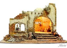 Portal hebreo (Ref. Christmas Manger, Christmas Nativity Scene, Christmas Villages, Rustic Christmas, Nativity Scenes, Idea Portal, Isometric Art, Medieval Houses, Cribs