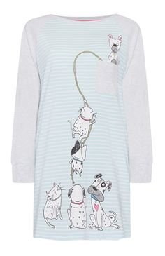 Primark - Camisola pijama às riscas turquesa Kids Nightwear, Cute Sleepwear, Cotton Sleepwear, Cute Pajamas, Girls Pajamas, Pajamas Women, Moda Casual, Pyjamas, Toddler Girl Outfits