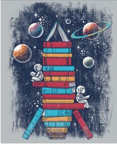 books and astronauts in space