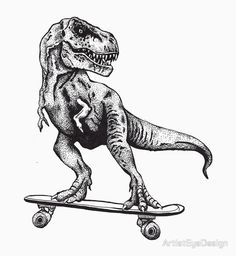 T-Rex Do Skate by ArtistEyeDesign Sketch Tattoo Design, Tattoo Sketches, Tattoo Drawings, Body Art Tattoos, Art Drawings, T Rex Tattoo, Skate Tattoo, Dinosaur Drawing, Dinosaur Art