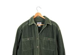Corduroy Rib Shirt Dark Green 90s Oversized by dirtybirdiesvintage