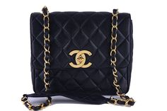 6d768c89d83030 Chanel Black Vintage Caviar Square Quilted Classic Flap Bag Chanel Purse,  Chanel Handbags, Luxury