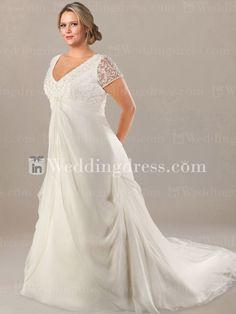 V-Neck Plus Size Wedding Gown with Short Sheer Sleeves PS041     Special Price: $257.00    See more detail here: www.inweddingdress.com/style-ps041.html  #weddingdresses #plussizeweddingdress