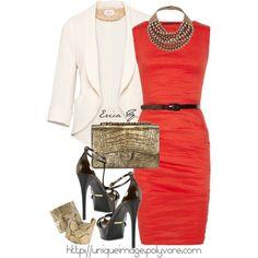 """Red Linen-blend Dress"" by uniqueimage on Polyvore"