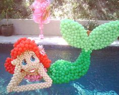 Floating Mermaid made by balloon artist #birthday #party #moms
