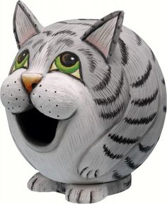 Grey Tabby Cat Gourd Shaped Birdhouse. Free Shipping.