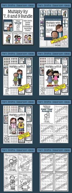 BUNDLE: Multiply with 7, 8 and 9 Task Cards, Recording Sheets, Center Games, Color Your Answers Printables and Answer Keys with a cute Kid and Cupcake Theme with Common Core for 3.OA.A.1. {Multiplication of Seven, Eight and Nine} #TPT $Paid
