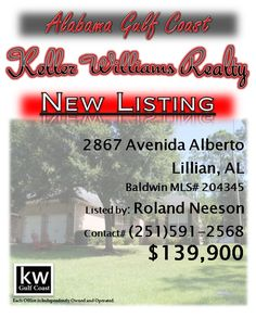 2867 Avenida Alberto, Lillian, AL...MLS# 204345...$139,900...Come inside and fall in love! From the 12x12 screen porch to the oversized master with a jetted tub split bedroom open floor plan, this spacious 3 bedroom 2 bath home is move in ready. Did I mention the oversized garage with oodles of storage? Gently used as a family vacation home for the past several years. Assoc fees include garbage and all amenities. Taxes are high because of no homestead. Contact Roland Neeson at 251-591-2568.